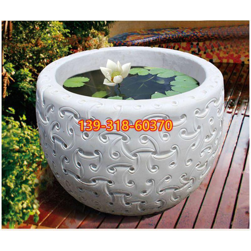 汉白玉鱼缸石雕