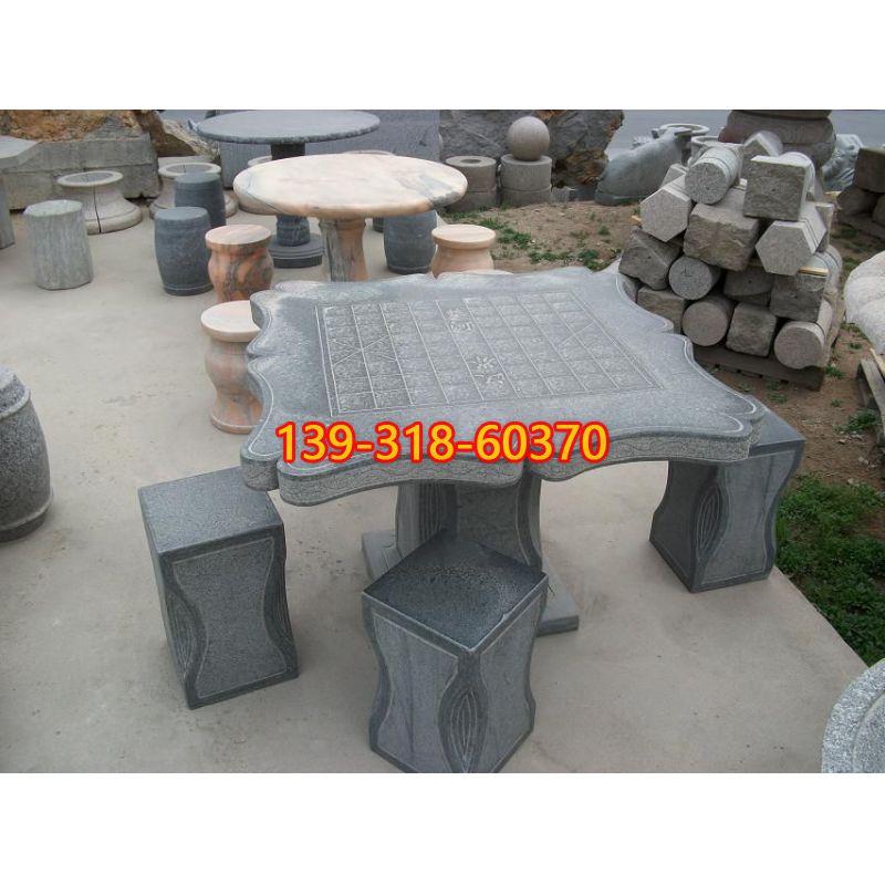 青石下棋石桌雕塑