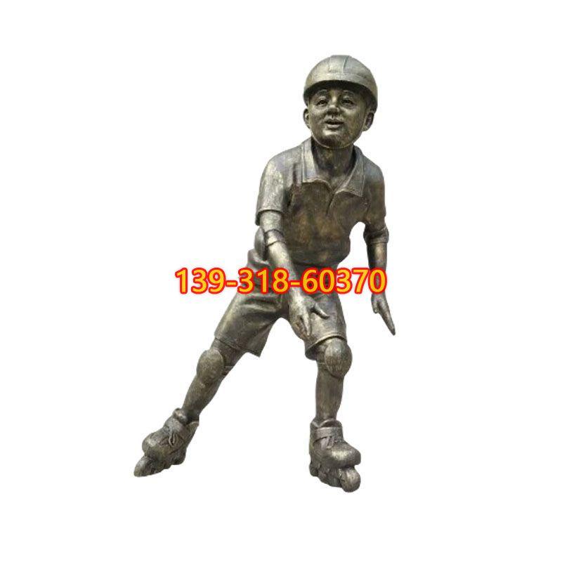 滑轮滑的儿童铜雕