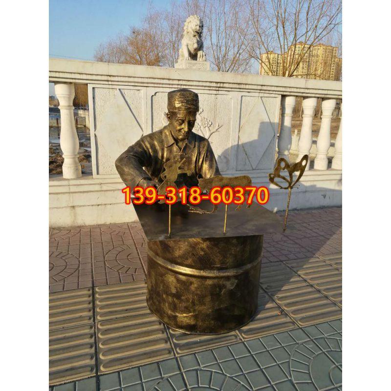 画糖人的人物铜雕