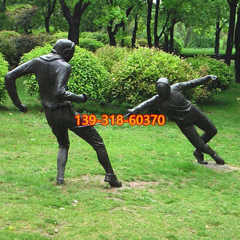 击剑运动员铜雕