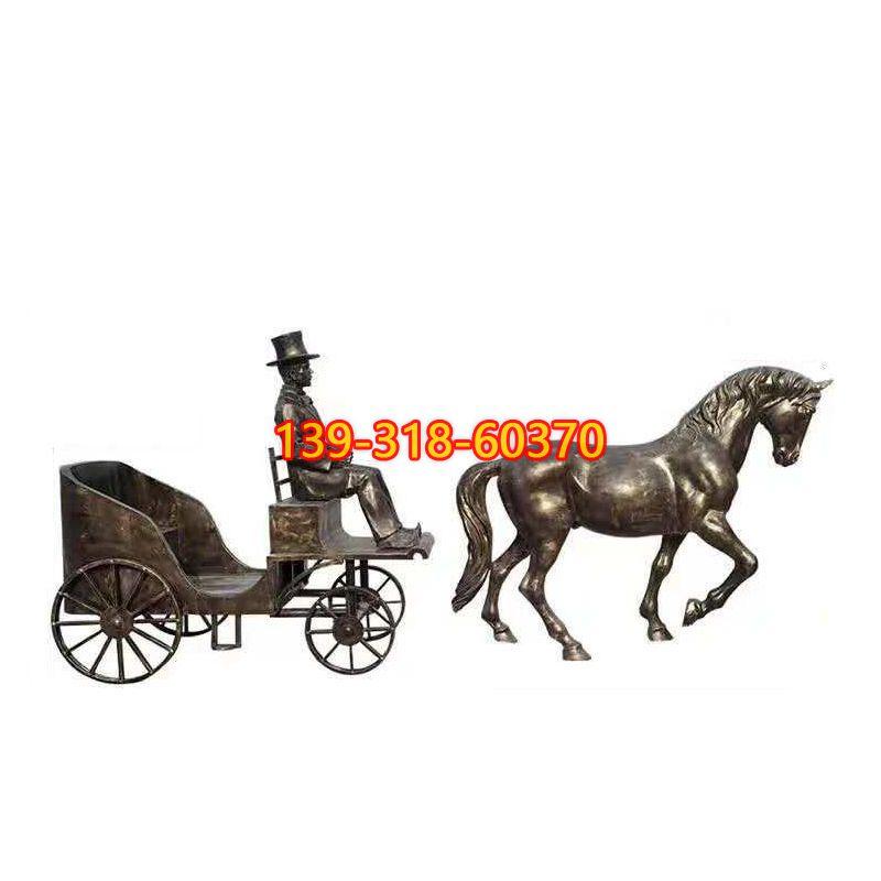 驾马车的西方人物铜雕