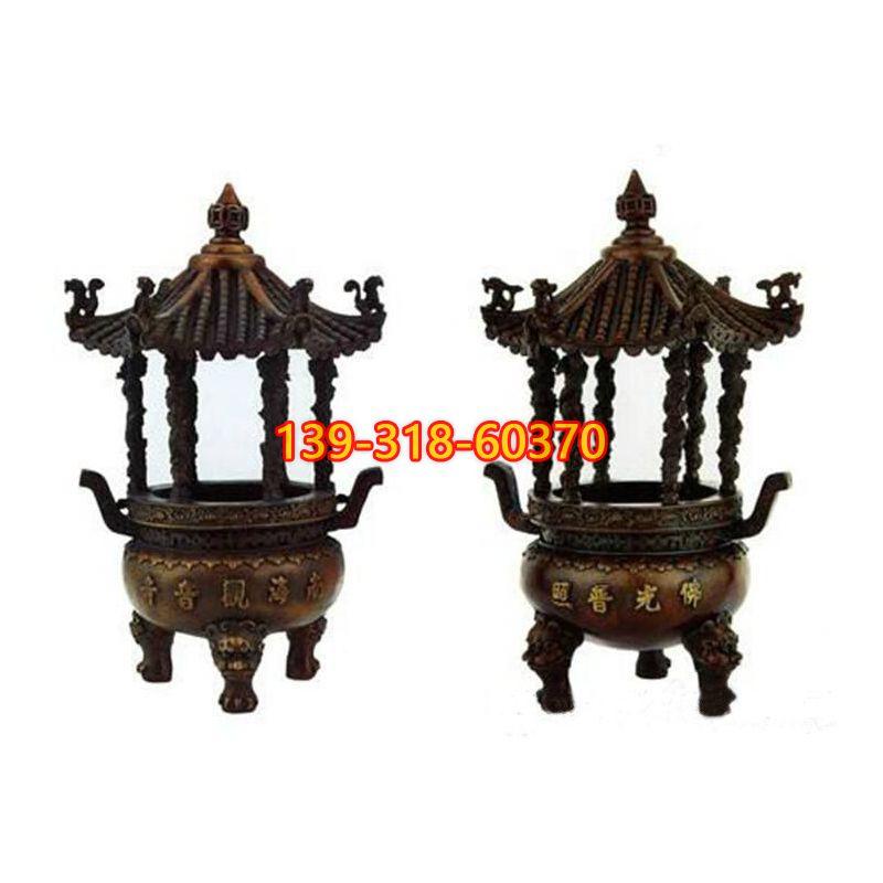 三足圆香炉铜雕(1)