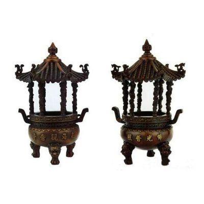 三足圆香炉铜雕