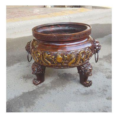 寺庙圆形三足香炉铜雕