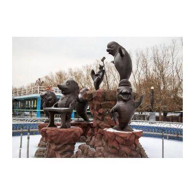 可爱海豹铜雕