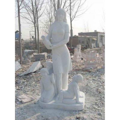 校园老师和学生石雕