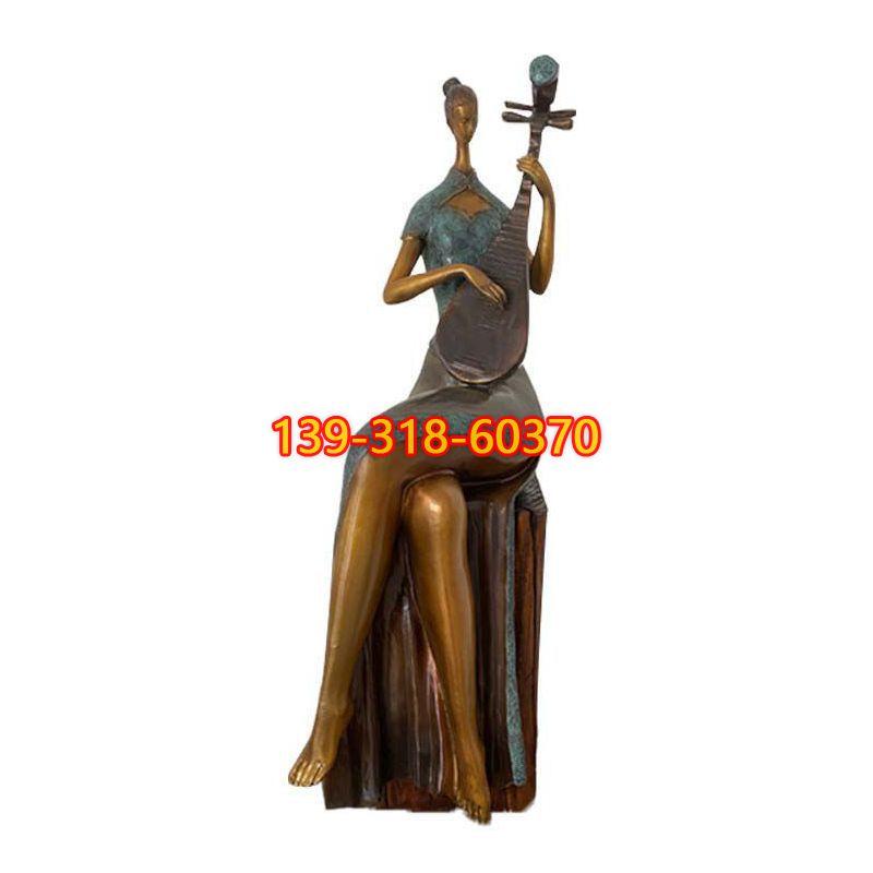 抽象弹琵琶人物雕塑(1)
