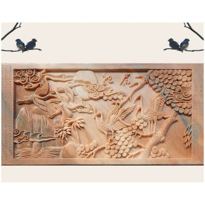 仙鹤壁画浮雕